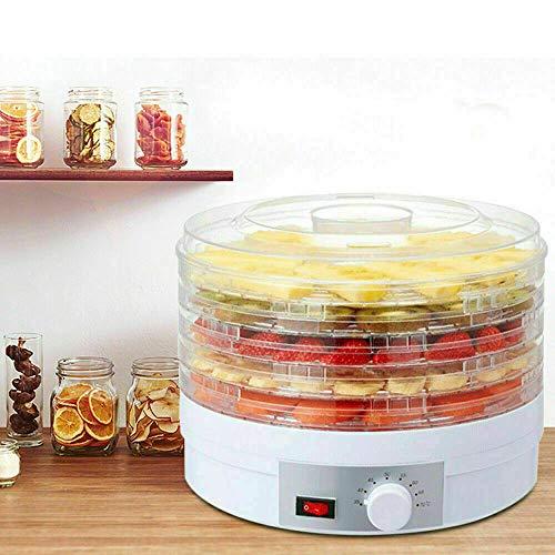 350W Mini Dörrautomat mit Temperaturregler, 5 Einlegefächer, Obsttrockner Dörrapparat, Dehydrator, 35-70°C, für Obst, Gemüse, Kräuter