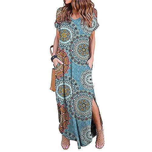 Newbestyle Damen Kleid Maxikleider Damen Freizeitkleider Sommerkleid Lang Damen Kurzarm Kleider mit Taschen