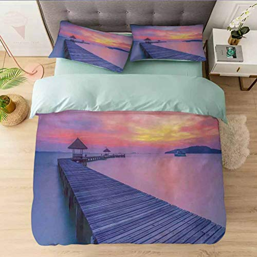 Aishare Store Bedding Duvet Cover Set Full, Dreamy Seascape Curve Jetty Romantic Resort Morning Time, Printed 3 Piece Duvet Cover Reversible 2 Pillow Shams Ultra Soft with Zipper Closure
