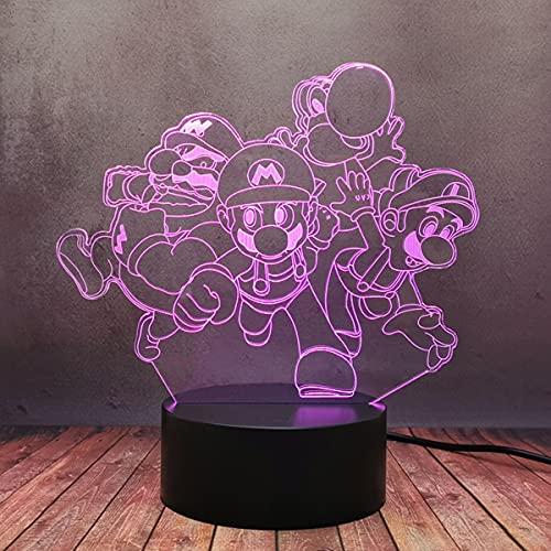 Super Mario Bros Yoshi 3D LED Lámpara de mesa escritorio USB 16 Color Degradado Brillo Decoración Luz de noche para el hogar Dormitorio Decoración Sensor táctil Brillo Flash Festival Juguete Regalo