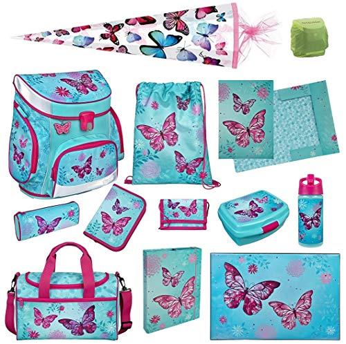 Scooli Butterfly Schulranzen-Set 13tlg. Campus Fit mit Sporttasche Schultüte 85cm Schmetterling-e und Blumen türkis Mädchen-Schulranzen Schulanfang