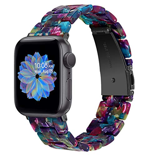 Joyozy Fashion Resin Band Compatible with Apple Watch 38mm 40mm, Stainless Steel Buckle iWatch Band Bracelet for Apple Watch Series 6 Series SE Series 5 4 3 2 1 Women(Flower Purple Green, 38mm/40mm)