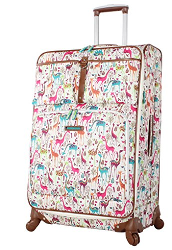 Lily Bloom Luggage Large Expandable Design Pattern Suitcase With Spinner Wheels For Woman (28in, Giraffe Park)