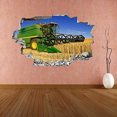Cosechadora maquinaria agrícola agricultura 3D etiqueta de la pared mural calcomanía 3D pegatinas de pared 60x90cm