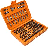 AERZETIX - Juego de 100 piezas/Puntas de destornillador 1/4'' en caja - Portapuntas - Extensión - Plano/Cruciforme/Phillips/Pozidriv/Estrella/Cuadrado/Allen/XZN/ - Acero /Cr-V/ - C45883
