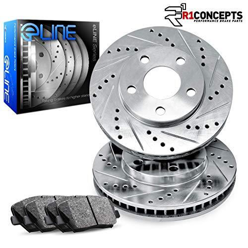 For 2005-2009 LR3, Range Rover Sport R1 Concepts eLine Front Drill/Slot Brake Rotors Kit + Ceramic Pads