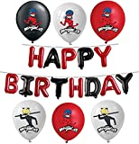Vision Officially Licensed Miraculous Ladybug Balloons Red Black Happy Birthday Banner Party Supplies Set