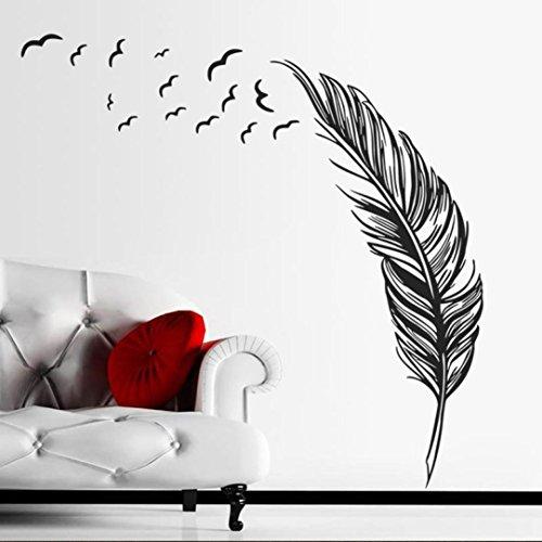 Ouneed® Wandaufkleber Wandtattoo Wandsticker, Neuer Wand Aufkleber Vögel Feder Schlafzimmer Abziehbild Wandkunst Dekor (schwarz)