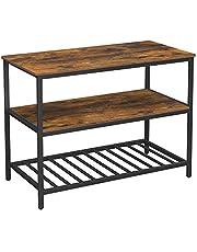VASAGLE Keukenplank met 3 planken, keukeneiland met groot werkblad, stabiel metalen frame, 120 x 60 x 90 cm, eenvoudige montage, industrieel ontwerp, vintage bruin-zwart KKI01BX