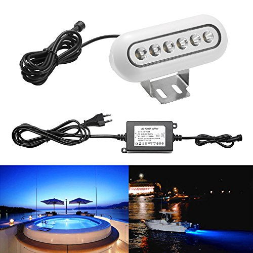 1x QACA SET LED Unterwasserlicht Unterwasserbeleuchtung Blau Unterwasserstrahler Teichbeleuchtung Unterwasserleuchte Wasserdicht IP68 12W 169x66x26mm
