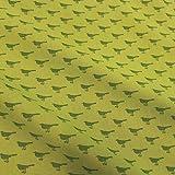 Stoff Meterware Baumwolle grün hellgrün Vogel Amsel