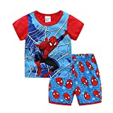 Shanleaf-Cat Children's Cartoon Spiderman Basic Layer Short Singlet Super Hero Boy's Cotton Basic Shirt Set 2-7T 2 PCS Set (RB-Spider, 5_years)