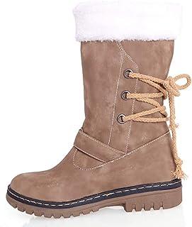 f31c728526cb41 Botte Longue Femme Hiver Fourrées Plate Daim Cuir Neige Winter Knee Boots Chaussures  Talon Chaud Lacets