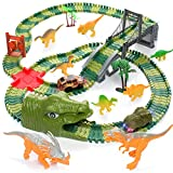 Dinosaur Track Toys, 200+ Pcs Create A Dinosaur World Road Race, Flexible Track Playset with 1 Dinosaur Car,1 Race Car,8 Dinosaurs for 3 4 5 6 Year & Up Old Boys Girls Kids Toddlers Great Gift