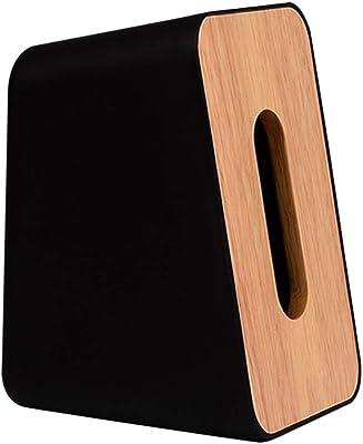 [ワズチヨ] コンパクト 蓋付き ティッシュケース ティッシュボックス 縦にも横にも置ける おしゃれ インテリア 自立 ブラック (黒)
