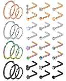 MODRSA 20g Nose Rings Studs L Shape Nose Screw Surgical Stainless Steel Nose Rings Hoop Diamond Heart Hypoallergenic Nostril Nose Piercing Jewelry for Women Men Silver Rose Gold Black Rainbow