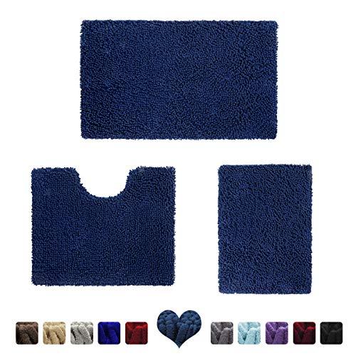HOMEIDEAS 3 Pieces Bathroom Rugs Set Navy Blue, Luxury Soft Chenille Bath Mats Set, Absorbent Shaggy Bath Rugs & Slip Resistant Plush Bath Mats for Tub, Shower, Bathroom