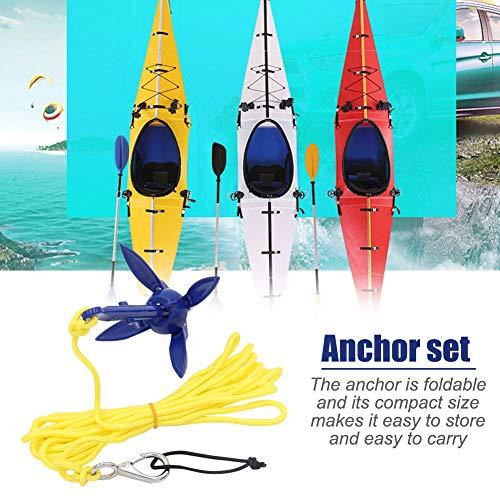 Ancla de deriva para kayak, anclaje de anclaje plegable, anclaje galvanizado con ancla, cuerda de 16.4 pies, gancho de resorte y bolsa de almacenamiento.Adecuado para kayak, botes de goma, barcos.