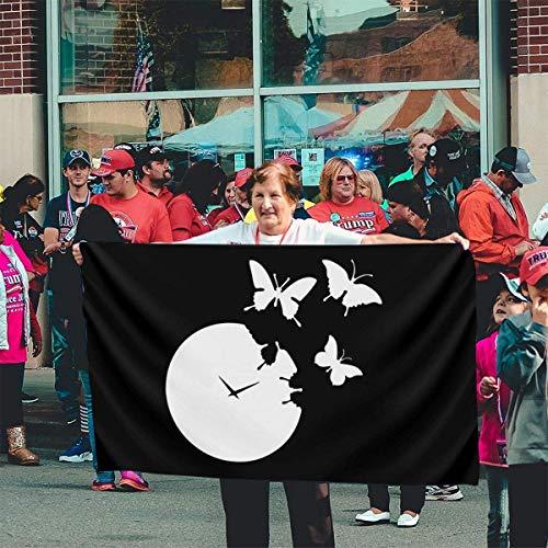 GYUB 3 X 5 100{73d39fff95541594d21a5bb0a4cfefad6efc1342176ff9a5d60dfd8de8759617} Polyester Einschichtige durchscheinende Flaggen, Uhr Clipart dekoratives Banner
