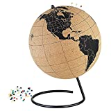 Large Cork Globe - 10 Inches Desktop World Globe - Educational World Map - Rotating Globe Table Decor for Home Office Classroom - with Push Pins - Handmade