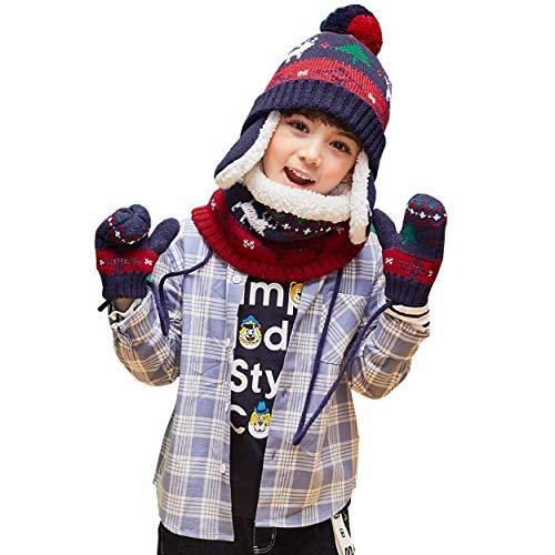 TRIWONDER Set de Gorro de Punto Bufanda Guantes de Invierno Niño Conjunto de Sombrero de Lana Calentador de Cuello Guantes Cálidos para Clima Frío Niños Niñas
