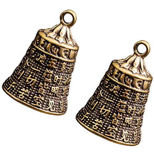 BESPORTBLE 2Pcs Campana de Feng Shui para La Riqueza Y La Campana de Fengshui de Latón Segura Buena Suerte Bendiga El Jardín de su Casa Coche Colgante Carillón de Viento Encantos