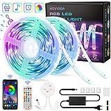 20M Striscia LED RGB 5050 Musicale, HOVVIDA Bluetooth Strisce LED 12V Musica, Controllato ...