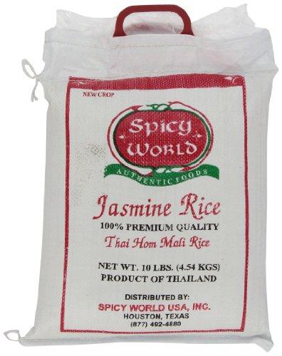 Spicy World Jasmine Rice 10 Pound Bag - Thai Hom Mali Premium Variety ~ By Spicy World