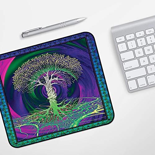 para Ratón con Cable o Inalámbrico,Naturaleza, árbol de la vida psicodélico digital con pantalla de misterio de fondo gótico girat,Impermeable Alfombrilla gruesa de goma antideslizante para ratón