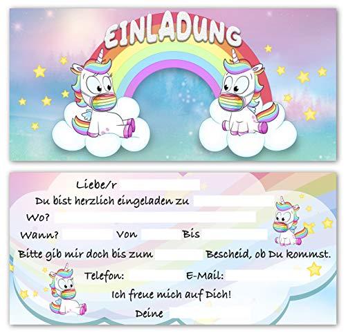 monteblago 10 EINLADUNGSKARTEN Geburtstag Mädchen Einhorn Kartenset Unicorn Geburtstagseinladung Kindergeburtstag Geburtstagsparty 10 teilig Mundschutz Regenbogen für Jungen Kinder