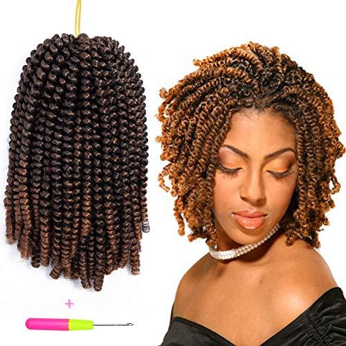 Spring Twist 3Pcs Havana Mambo Crochet Braids Synthetic Hair 8 Inch Afro Kinky Twist Braiding Hair Extensions (#1B/30)