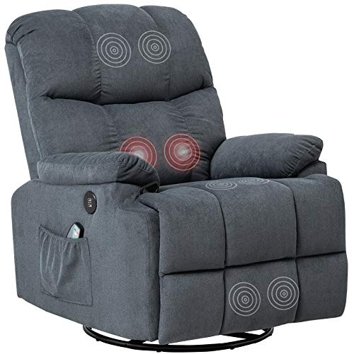 Mecor Recliner Chair with Massage Fabric Rocker Recliner with Heat 360 Degree Swivel Single Sofa Seat Ergonomic Lounge with USB/Side Pockets/Remote Control for Living Room (Gray-Blue)