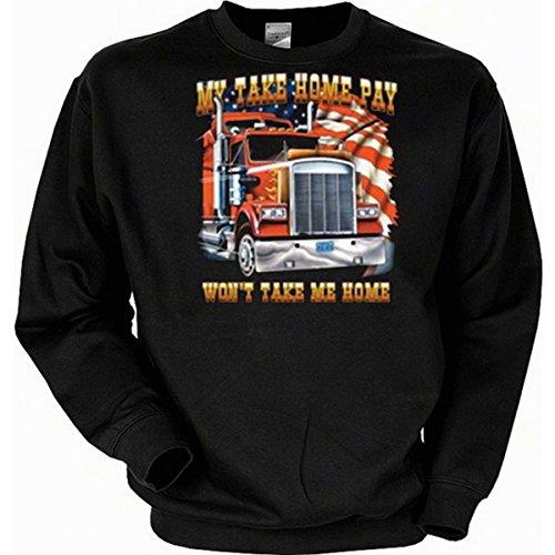 van-Petersen-Shirts Trucker Sweatshirt, Motiv: My take home pay won't take me home Gr XXL (Fb schwarz)