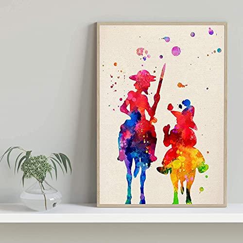 SXXRZA Poster Artworks 60x80cm Sin Marco Nacnic Don Quijote enmarcando Ilustraciones Grabados Estilo Acuarela.Gramos de Papel
