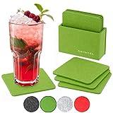 bellendo® Glasuntersetzer Filz 8er Set, Design Filzuntersetzer für Gläser mit Box - 10x10cm – Untersetzer eckig, grün