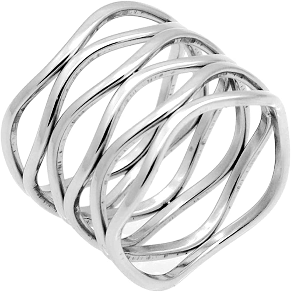Stainless Steel Braide Wave Wrap Style Statement Promise Anniversary Ring