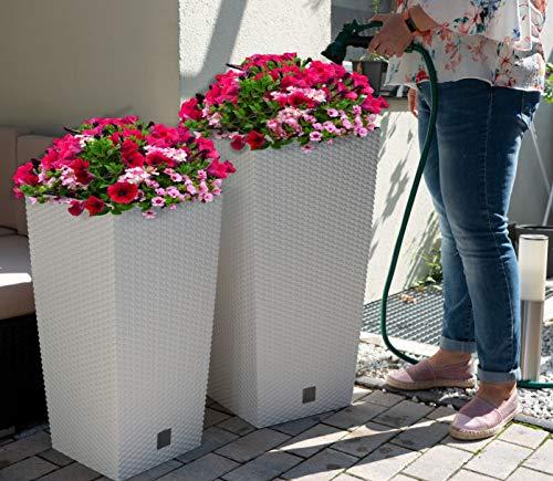 XXL Pflanzkübel 2er Set groß für Aussen und Innen. Blumentopf in Rattan Optik mit Bewässerungssystem und Wasseranzeige. Pflanzenkübel Blumenkübel. Anthrazit und Weiß (2er Set weiß Groß + Mittel)