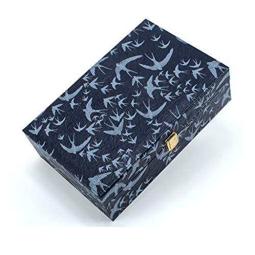 SKK Estuche Maquillaje Caja de joyería Mediana Organizador Anillos portátiles Collares Estuche de Almacenamiento Valentines Regalos Organizador (Color : Blue)