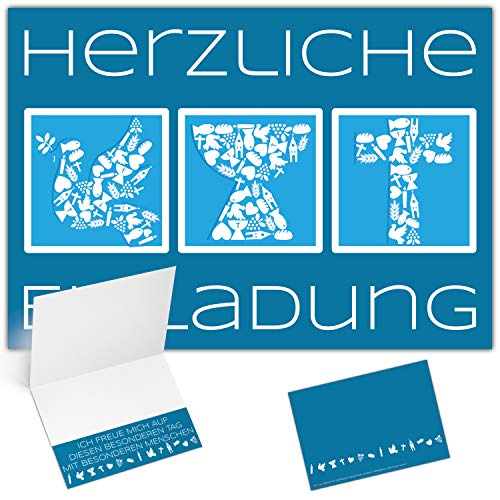 25er XL-Set Einladungskarten zur Kommunion Konfirmation Taufe Firmung SYMBOLE - edle Klappkarten für Jungen Mädchen Einladung Karten von BREITENWERK