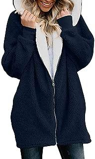 TWGONE Hooded Jacket Women Plus Size Fluffy Coat with Pocket Solid Oversized Zip Down Cardigans Outwear