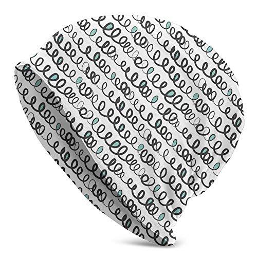 Mamihong Unisex Beanie Knit Skull Cap, handgezeichnete gestreifte gewellte Fliesen überlappendes Design in Pastelltönen