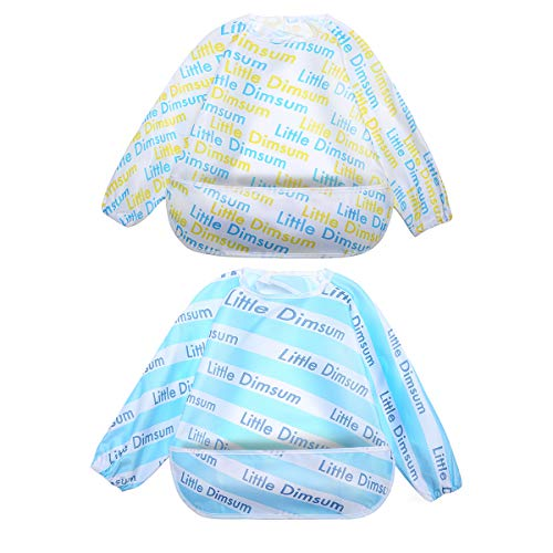 Long Sleeved Baby Bib Feeding Bibs Waterproof Coverall Adjustable Closure for Babies Toddlers with Large Pocket (6-36 Months) - Pack of 2 by Little Dimsum(Puppy/Cat)