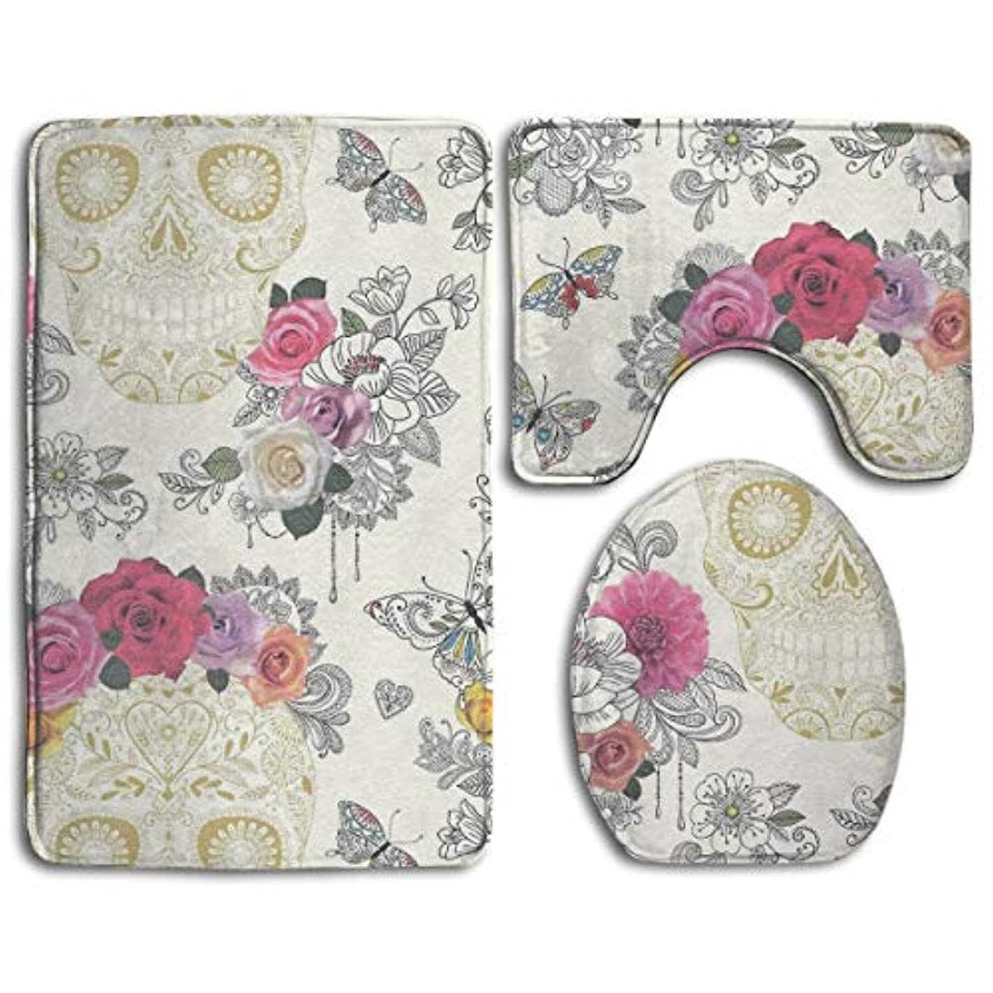 TERPASTRY Butterfly Floral Sugar Skull Bathroom Rug Mats Set 3 Piece Toilet Carpet Rugs Includes Contour Mat and Lid Cover Non Slip Absorption Mat Machine Wash/Dry Perfect Mats for Tub Shower