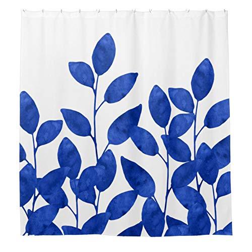 Duschvorhänge mit 12 Haken, königsblau, Aquarellblätter, Badezimmer-Vorhang 183 x 183 cm