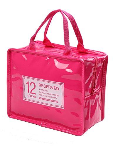 iSuperb Borsa Termica Adulto Porta Pranzo Lunch Bag con Cerniera per Donna,Uomo e Ufficio 22x13x18.5cm (rosso)
