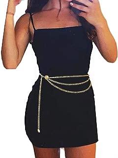 Women Trendy Multilayer Metal Link Waist Chain Waist Belt Long Tassel Sun Charm Belly Chains Waistbands Body Jewelry