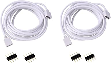 RGBZONE 2 Pack 3M 9.9ft Extension Cable Connect Female Plug to RGB LED Strip light with Free 4pcs 4pin Connector