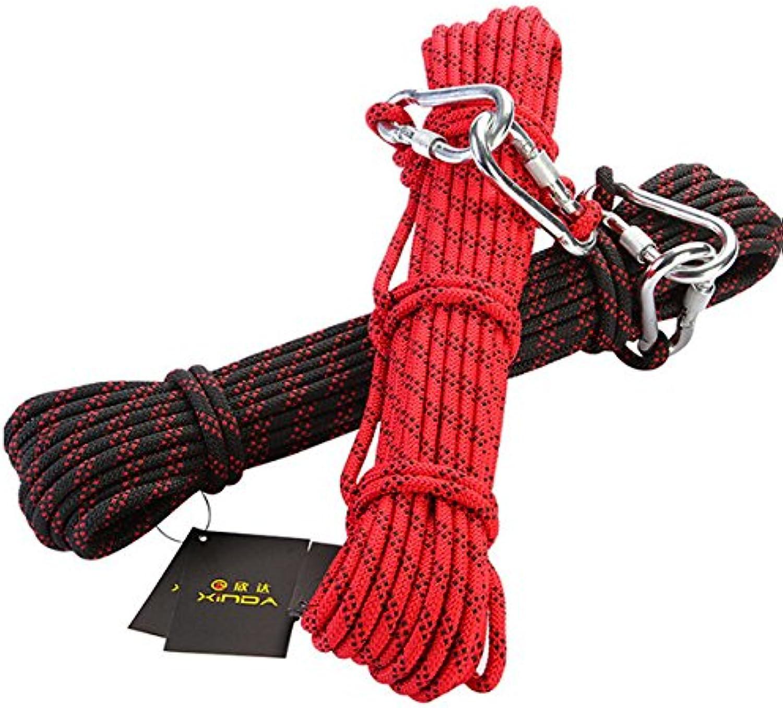 Wuchance 10M Kletterseile Sicherheitsausrüstung Solid Belt Life Ropes 8MM starke Nylonseile (Farbe   rot)