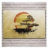 AZTeam Grunge Bonsai Art Naranja Beige Sun Cloud Poster Sala De Estar Pared del Hogar Lienzo Decorativo para Decoración De Sala De Estar Gran Regalo-50X75Cm Sin Marco