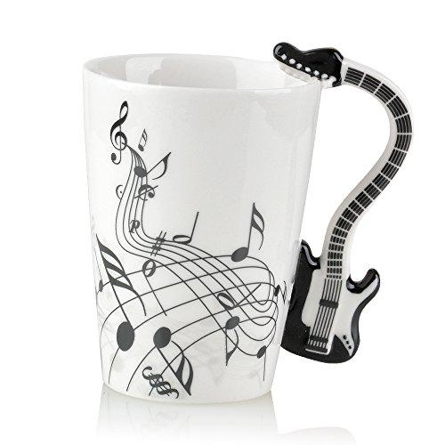 Kompassswc Lusitige Keramiktasse mit Motiv Henkel E-Gitarre Kaffeetasse Porzellan Tee Kaffeebecher Musiknoten Bedruckt Geschenk Tasse Ø7,5 H10cm 0,3L (Schwarz E-Gitarre)